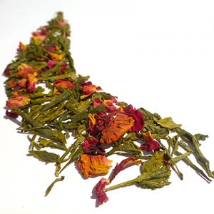 thé vert aromatisé cerise et rose - thé parfumé
