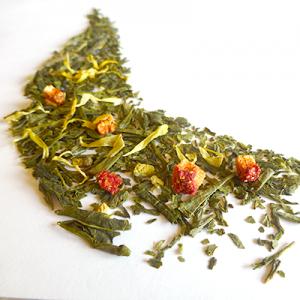 thé vert aromatisé orange et fraise - thé parfumé